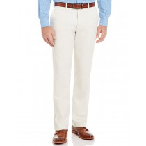 Cream Colored Stretch Twill Casual Trouser