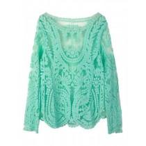 Crochet Lace Embroidery Women Tunic T Shirt