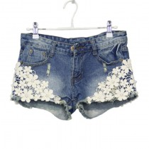 Dark Blue Lace Floral Women Denim Shorts