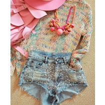 Decorative Light Blue Casual Women Shorts