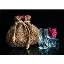 Designer Maroon Beaded Drawstring Potli Bag