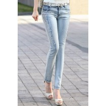Diamond Beading Skinny Fit Women Jeans