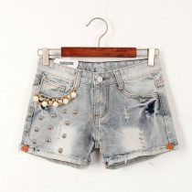Distressed Ripped Beads Women Shorts