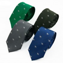 Dog Embroidery Silk Skinny Narrow Ties