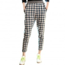 Elastic Waist Plaid Women Casual Trousers