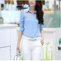 Elegant Slim Fit Lace Patchwork Casual Shirts