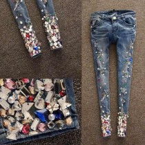 Embroidered Full Length Blue Women Jeans