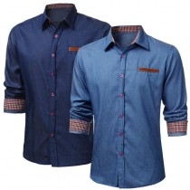 Fashion Luxury Casual Slim Fit Denim Shirts