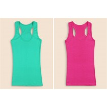 Female Fashion Basic Candy Color U-shape Tanks Tops