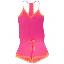 Fuchsia Pink V Neck Lace Pattern Nightwear