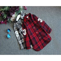 Girls Casual Long Sleeves Plaid Shirts