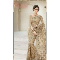 Gold Net Georgette Saree With Dupion Silk Blouse