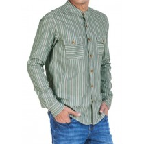 Green And White Striped Slim Fit Casual Shirt