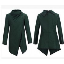Green Cross Long Sleeve Women Winter Coat