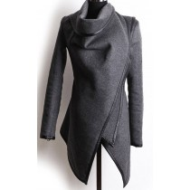 Grey Cross Long Sleeve Women Winter Coat