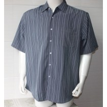 Grey Mens Plus Size Striped Casual Shirt