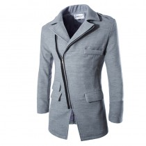 Grey Winter Slim Fit Fashion Long Jacket
