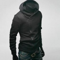High Collar Mens Cotton Black Jacket