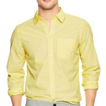 Casual Cotton Yellow Plain shirt