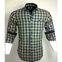 Casual Cotton Yellow and Blue Check Shirt