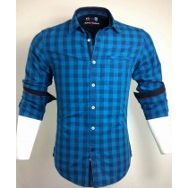 Casual Cotton Blue Check Shirt