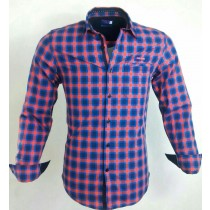 Casual Cotton Red and Blue Check Shirt