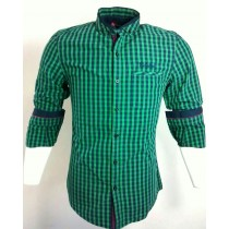 Casual Cotton Green and Black Check Shirt