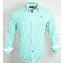 Casual Cotton Green and White Shirt