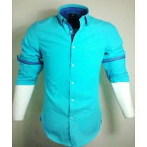 Casual Cotton Aqua Stripes Shirt