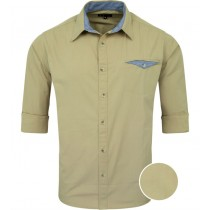 Khaki Solid Casual Regular Fit Cotton Shirt 5