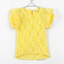 Latest Lace Pattern Short Sleeve Girl Tshirts