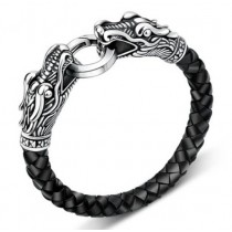 Leather Classic Silver Men Bracelet