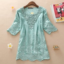 Light Aqua Cutout Lace Plus Size Women Top
