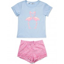 Light Blue And Pink Bird Print Nightwear
