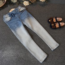 Light Blue Casual Elastic Waist Girl Jeans