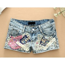 Light Blue Diamond Denim Women Shorts