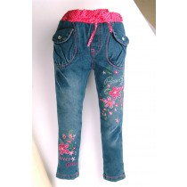Light Blue Flower Embroidery Girl Jeans