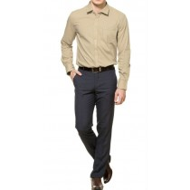 Light Brown And White Stripes Formal Cotton Shirt