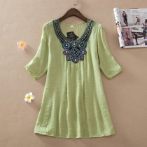Light Green Embroidery Women Plus Size Top