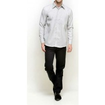 Light Grey Plain Regular Fit Formal Shirt
