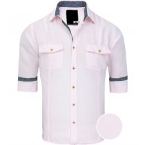 Linen Pink Solid Regular Fit Casual Shirt