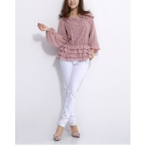 Long Sleeve Flower Pattern Women Tops