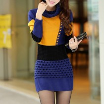 Long Sleeve Knitted Sweater Women Dresses