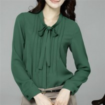 Long Sleeve Solid Chiffon Womens Formal Shirts