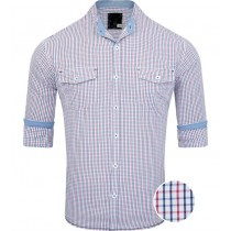 Mandarin Collar Casual Red And Blue Checkered Shirt