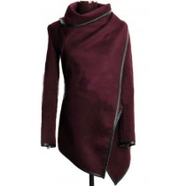 Maroon Cross Long Sleeve Women Winter Coat
