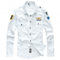 Men Long Sleeve Embroidery Logo Patch Plane Pilot Casual Shirt
