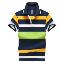Men Short Sleeves Polo T Shirts Striped Slim