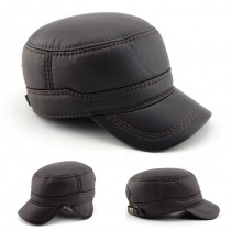 Men Simple Comfortable Leather Caps