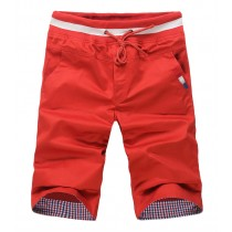 Mens Causal Loose Cotton Rope Shorts